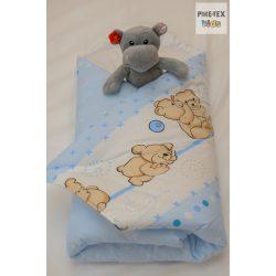 Pihetex Kék ölelkezős maci pólya kispárnával