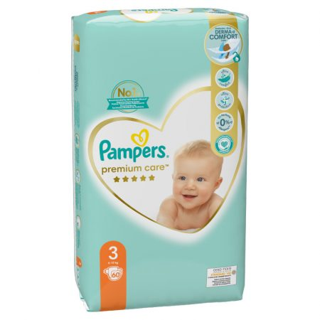 Pampers Premium Care carry pack, 3-as midi 6-10 kg - 60 db
