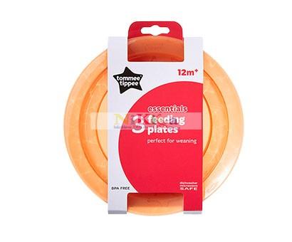 Tommee Tippee 3 db-os essential bacics lapos tányér 12m+ -narancs