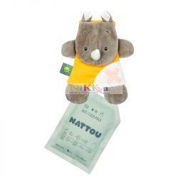 Nattou plüss szundikendő hideg/meleg terápiás gélpárnával BuddieZzz - orrszarvú