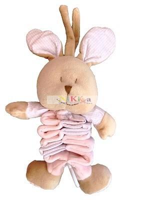 Plüss nyuszi harmonika zenélő 32 cm pink