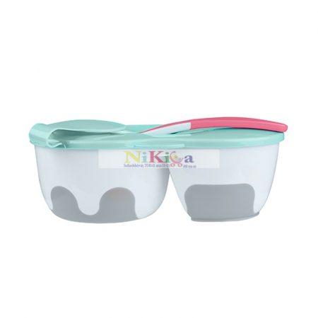 Baby Ono kétrekeszes tányér kanállal - 1067 pink