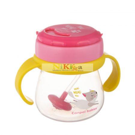 Canpol Itató pohár szívószállal 250 ml 56/520 pink