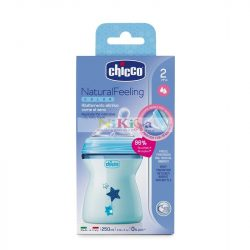 CHICCO Natural Feeling cumisüveg - 250ml - kék
