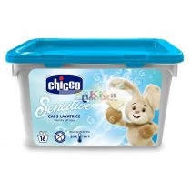 Chicco Sensitive mosógél kapszula babapúder illat, 16 db-os
