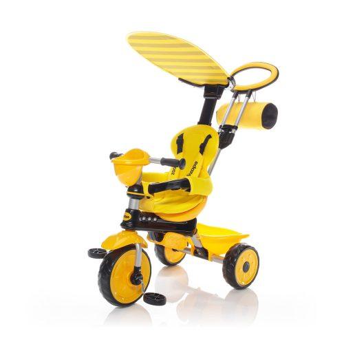 Zopa tricikli ZooGo tolókarral- Bee sárga