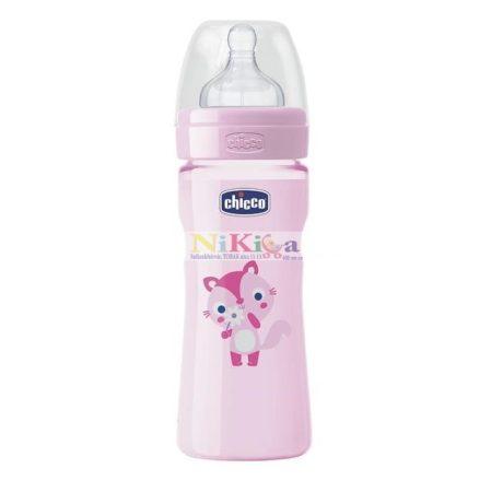 CHICCO Well-Being változtatható folyás latex - 250 ml rózsaszín mintás
