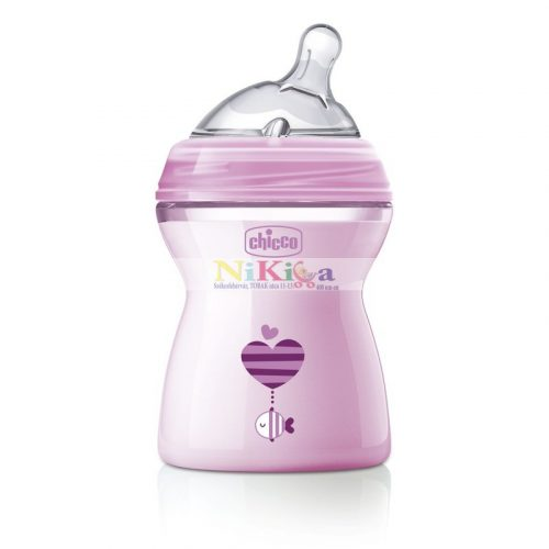 CHICCO Natural Feeling 250 ml cumisüveg - rózsaszín