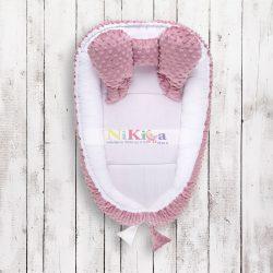 LUXUS Babafészek minky  sweet baby plüss - pink