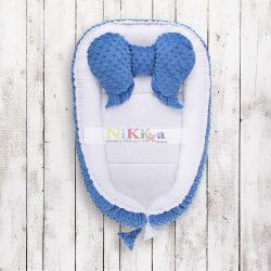 LUXUS Babafészek minky  sweet baby plüss - kék